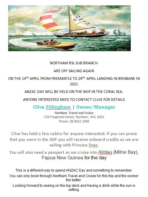 Flyer for 2021 Northam RSL cruise.  If interested please contact Clive at Northam Travel and Cruise 9622 1499