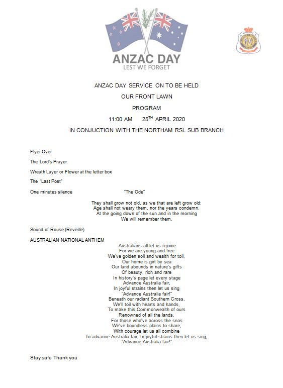 Order of service Anzac Day 2020