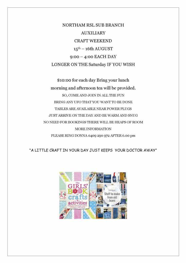 Details about the craft weekend 15th to 16th August 2020
